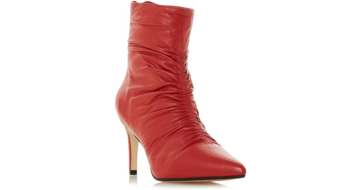 3c1f48035d77 Dune Red Leather 'oasis' Mid Stiletto Heel Ankle Boots in Red - Lyst