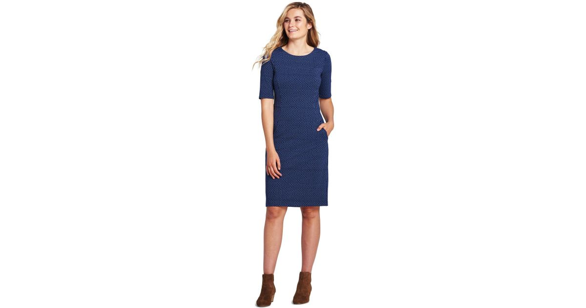 15f2b467 Lands' End Blue Plus Patterned Ponte Jersey Shift Dress in Blue - Save 50%  - Lyst