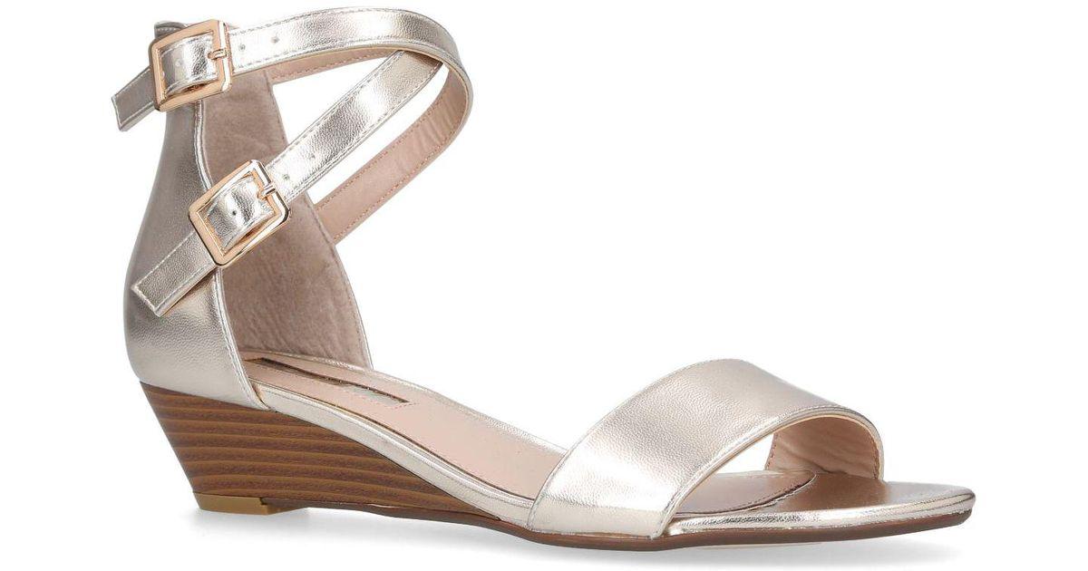 6c2f1ba1a5 Miss Kg Gold 'ruth' Low Heel Wedge Sandals in Metallic - Lyst