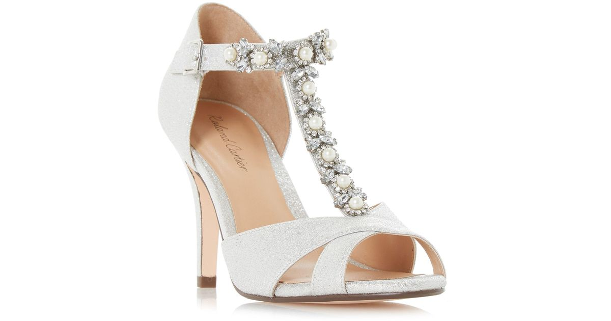 04fce0e0967 Roland Cartier Maddalyn Embellished T Bar Court Shoes In Metallic Lyst