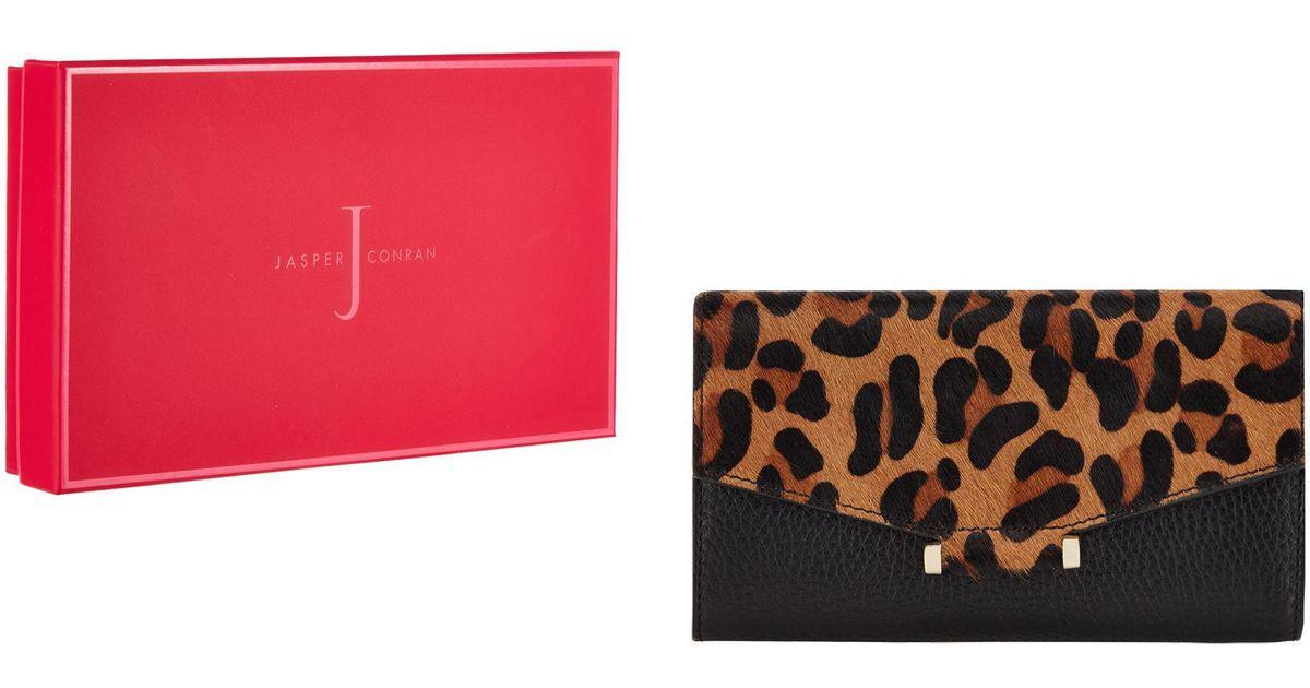 J By Jasper Conran Black Leather Animal Print Purse Lyst