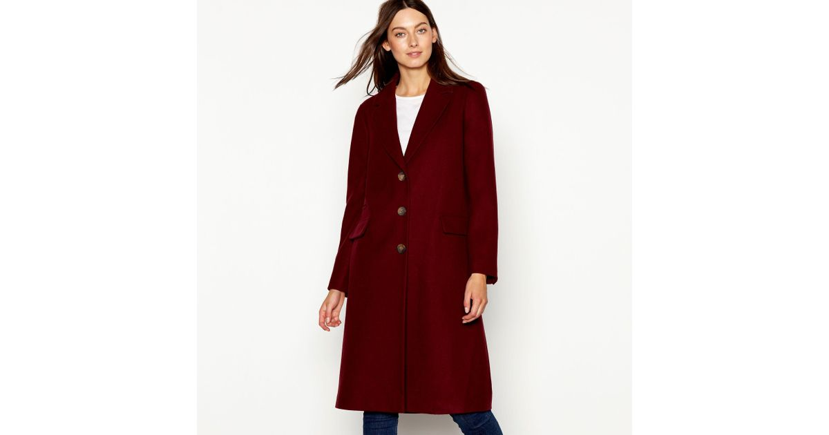 bf5ea889aacd Red Herring Burgundy Single Breasted City Coat in Red - Lyst