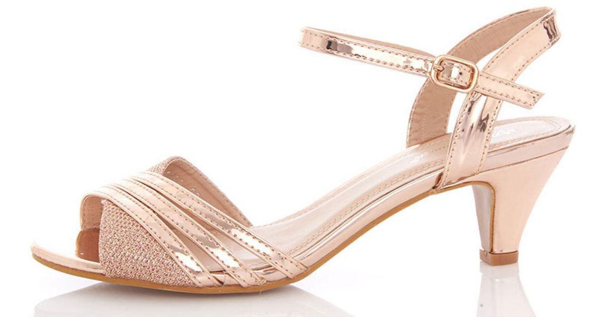 2c287bfc4e76 Quiz Rose Gold Metallic Strap Low Heel Sandals in Metallic - Lyst