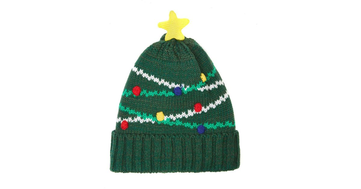 a108abf9242 Yumi  Green Christmas Tree Knit Beanie Hat in Green - Lyst