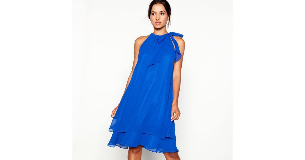 87da3bb8683 Début Bright Blue Tie Neck  elsa  Chiffon Knee Length Plus Size Swing Dress  in Blue - Lyst