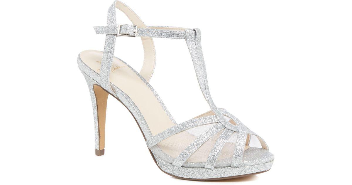 e16e91f1aa0 Jenny Packham Silver Glitter  paradise  High Stiletto Heel T-bar Sandals in  Metallic - Lyst