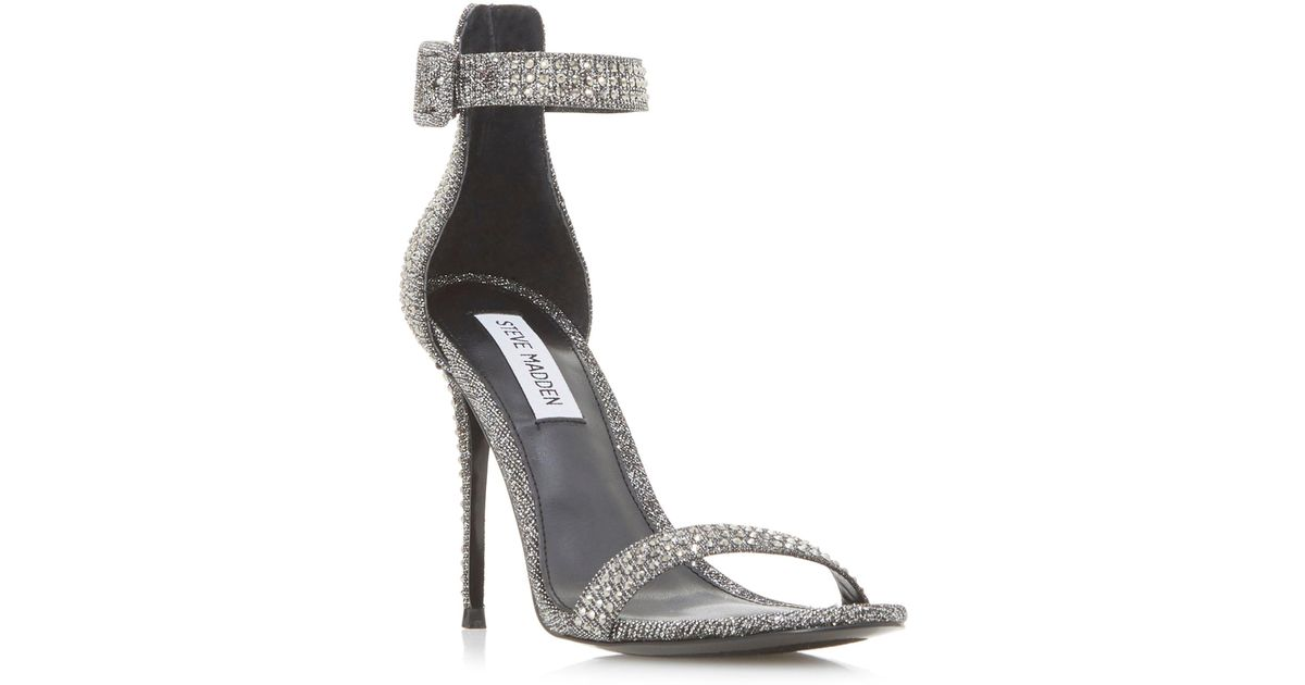 f18d1605bd2 Steve Madden Silver  mischa Sm  High Stiletto Heel Ankle Strap Sandals in  Metallic - Lyst