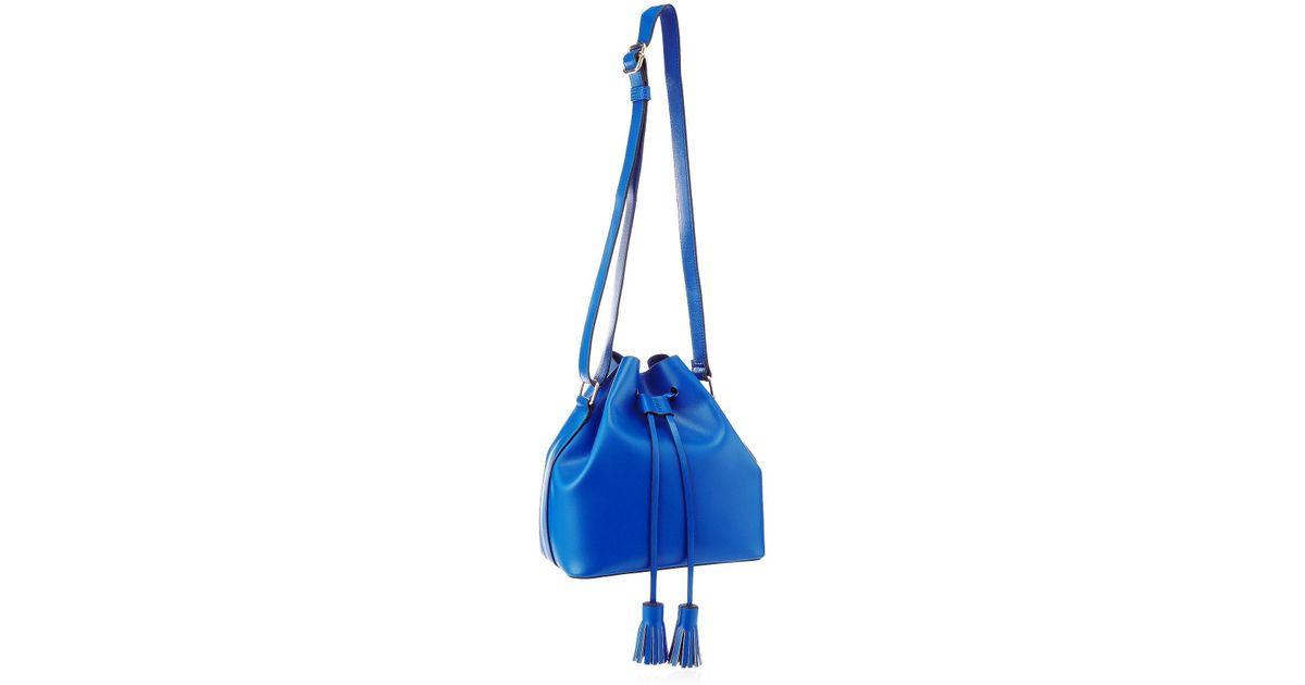 12b835c9a76 Red Herring Blue Faux Leather Drawstring Tassel Duffle Bag in Blue - Lyst