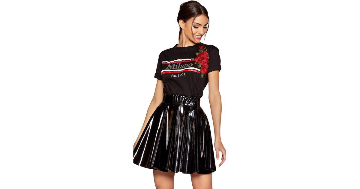 9f90ce5774f Quiz Black Vinyl Skater Skirt in Black - Lyst