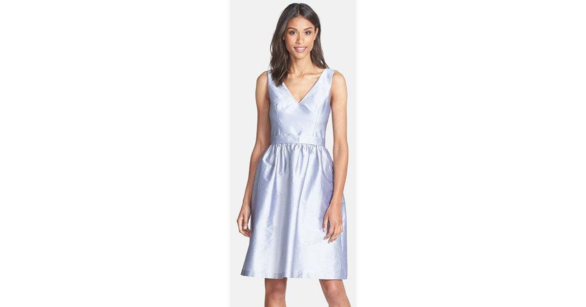671f8d77e52 Lyst - Alfred Sung Satin Fit   Flare Dress Dress in Gray
