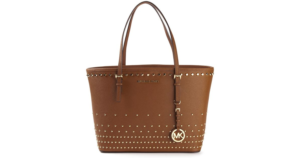 01340615a06386 MICHAEL Michael Kors Jet Set Travel Studded Tote in Brown - Lyst
