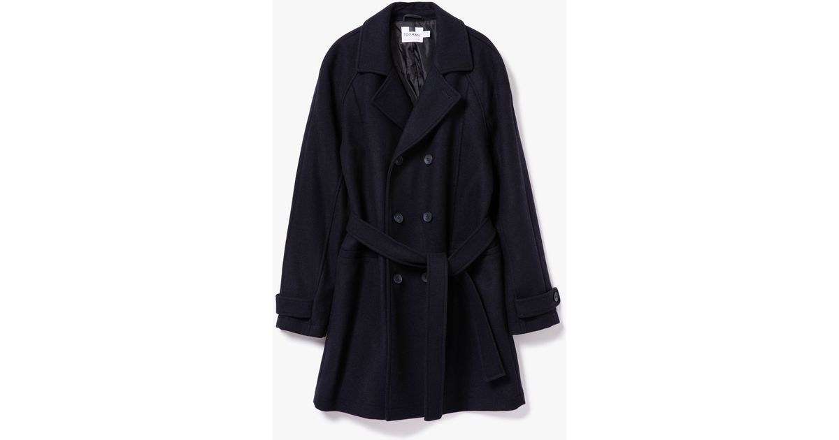 Topman Navy Wool Bonded Trench Coat in Blue for Men | Lyst