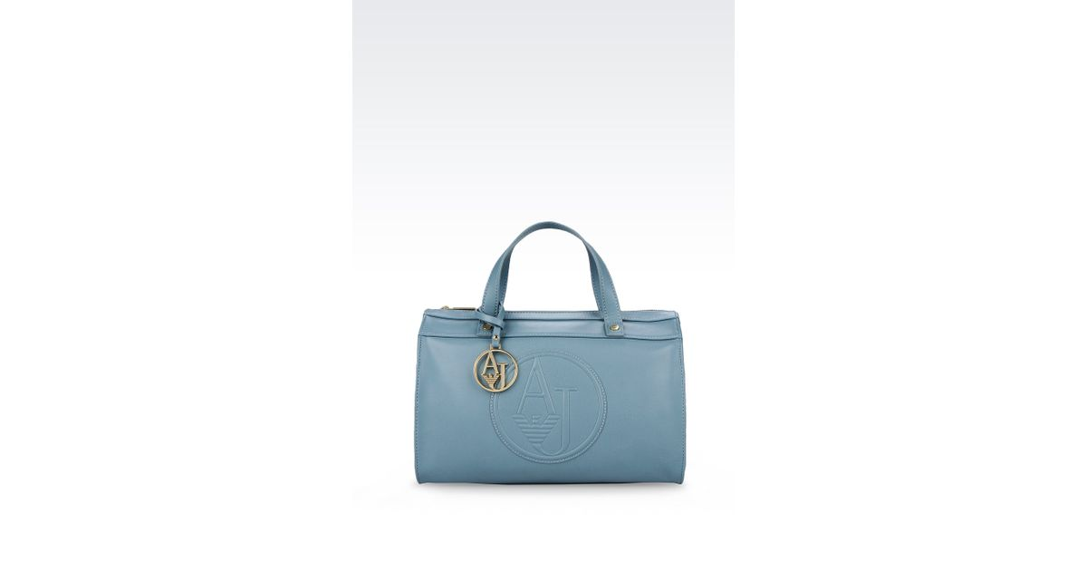 70224856ba Lyst - Armani Jeans Bauletto Bag in Faux Leather with Pendant and Logo in  Blue