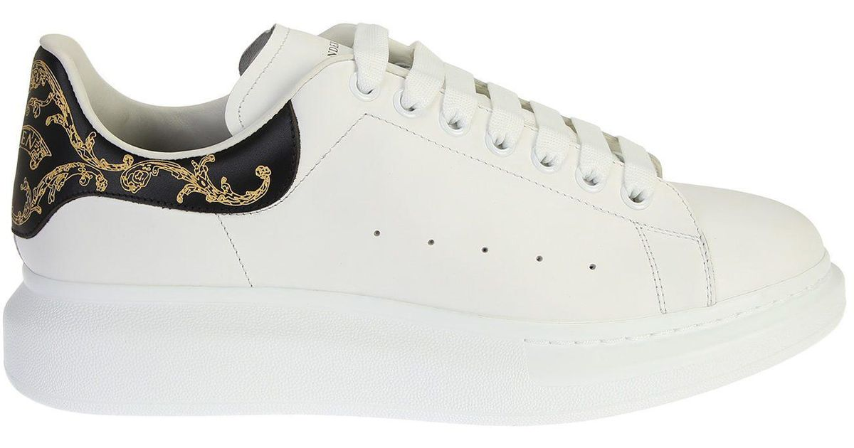 633eb7780cdc3 Alexander McQueen Leather Sneakers With Gold   Black Detail in Metallic for  Men - Lyst