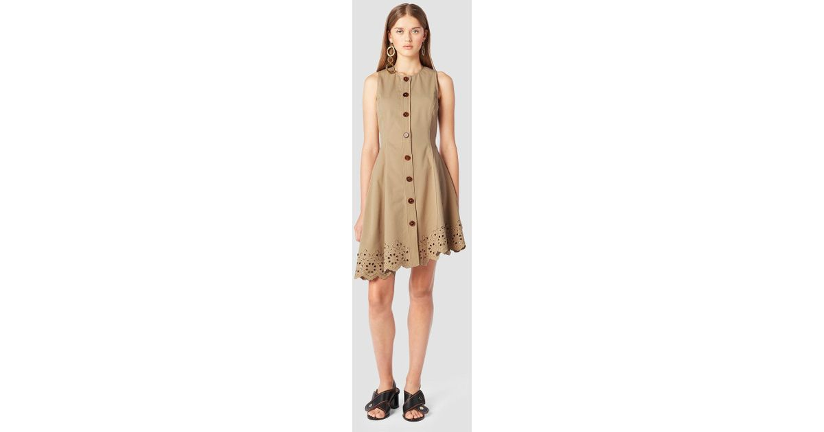 cdc919149e3535 Lyst - Derek Lam Sleeveless Button Down Dress With Scalloped Hem in Natural