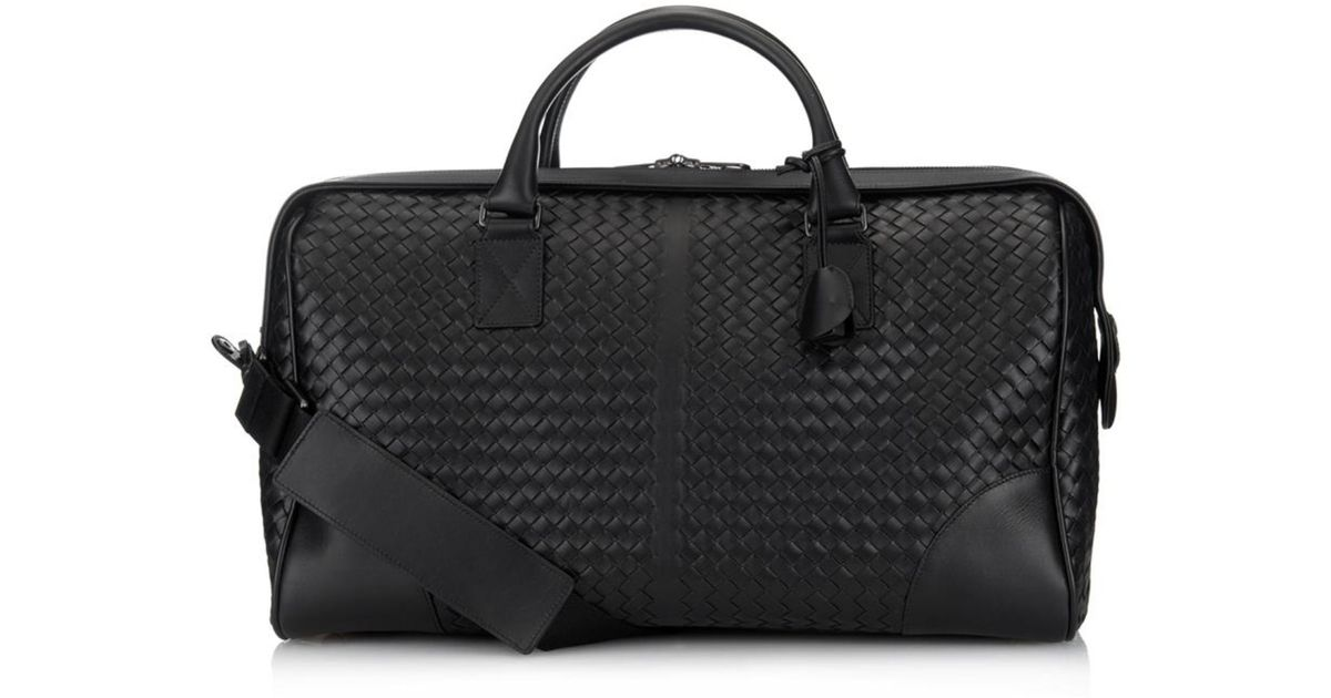 48e6b5c211 Lyst - Bottega Veneta Intrecciato Leather Weekend Bag in Black for Men
