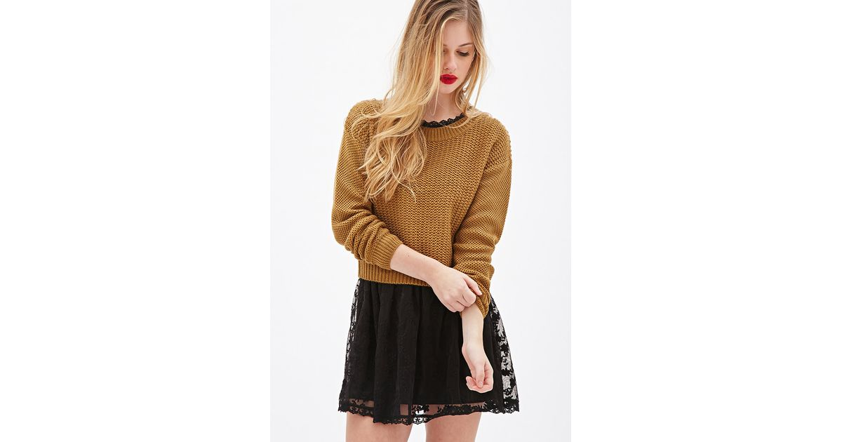9f1a9876d5 Lyst - Forever 21 Chunky Knit Boxy Sweater in Brown