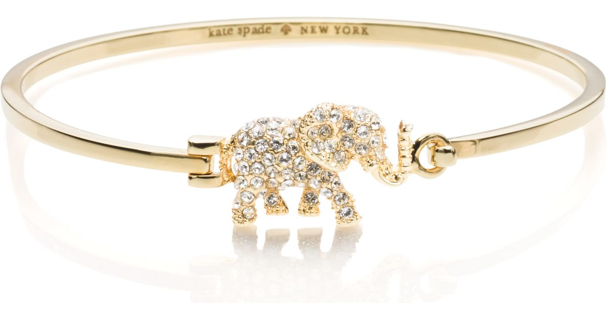 spade normal tone lyst metallic elephant gold jewelry york pav product in bracelet pave new bangle kate