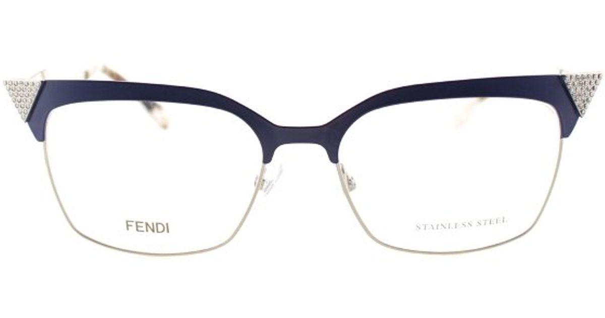c051c7775b Fendi Ff 0061 Mtf Blue Gold White Metal Iridia Eyeglasses in Blue - Lyst