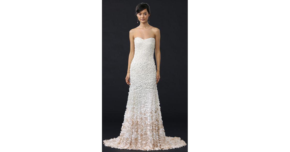 c6edf2f0b4f0 THEIA Courtney Strapless Petal Gown in White - Lyst