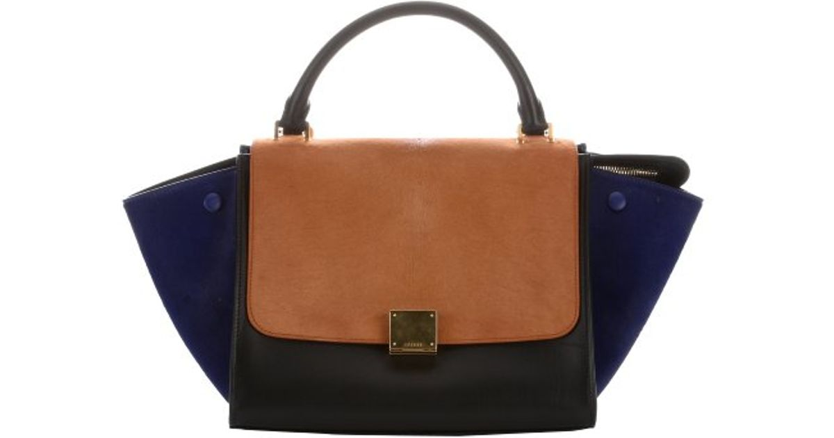 790a4323f4 Lyst - Céline Bluette And Tan Leather And Calf Hair Convertible Trapeze Bag  in Black