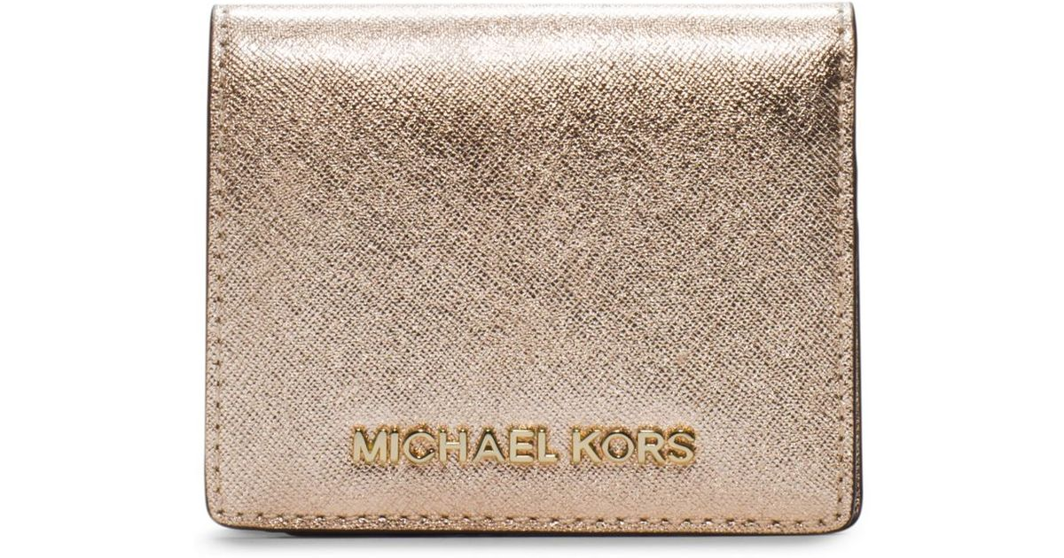 prada handbags replica - Michael kors Jet Set Travel Metallic Saffiano Leather Card Holder ...