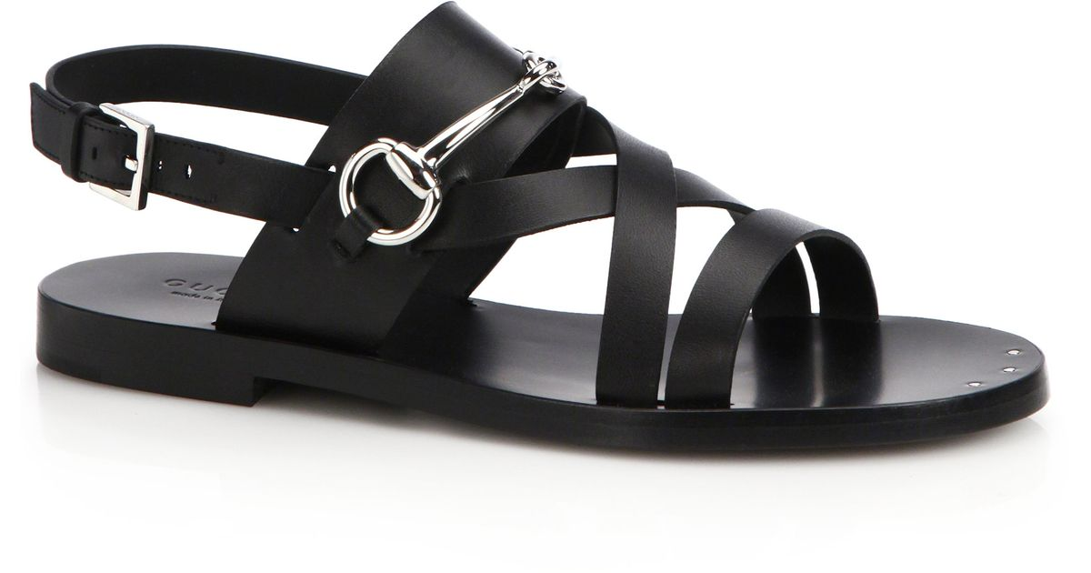 9339a84ba8bb Lyst - Gucci Juliette Strappy Flat Sandals in Black