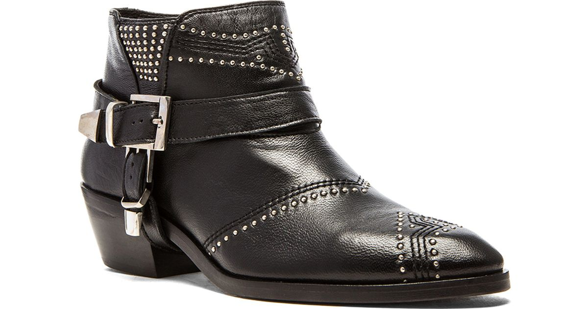 Anine Bing Studded Boots With Buckles In Black Lyst