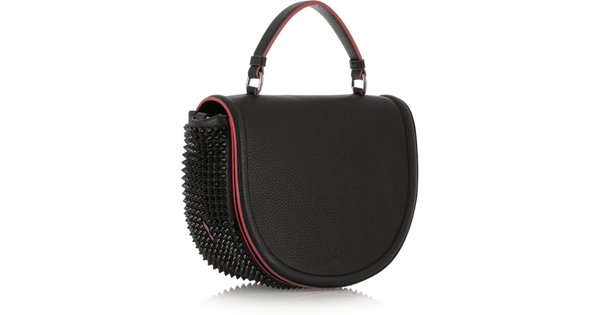 2a29e56ce7e Christian Louboutin Panettone Messenger Spiked Textured-Leather Tote in  Black - Lyst