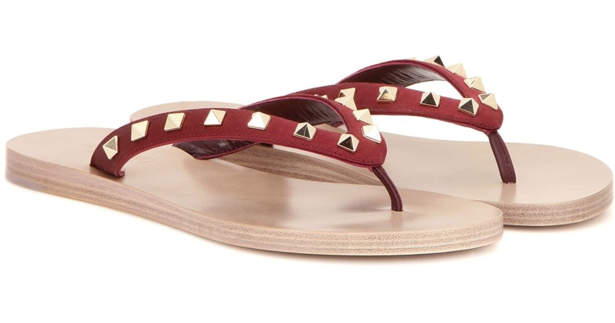 valentino rockstud satin flip flops in purple lyst. Black Bedroom Furniture Sets. Home Design Ideas