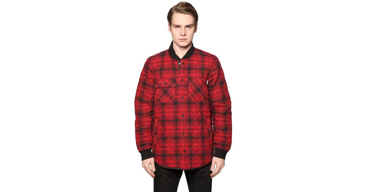 carhartt padded cotton oxford flannel jacket in red for men red black save 31 lyst. Black Bedroom Furniture Sets. Home Design Ideas