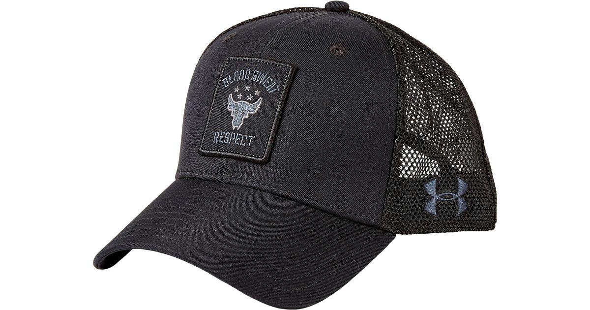 Lyst - Under Armour Project Rock Trucker Hat in Black for Men 4413498cdb6