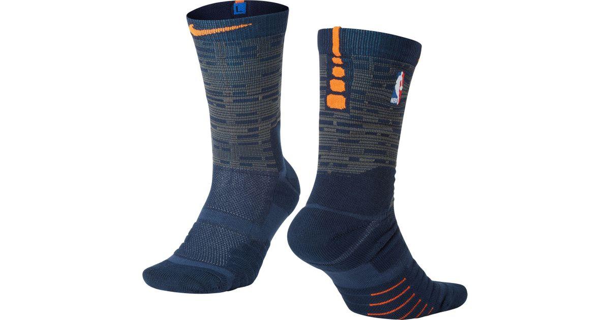 Lyst - Nike New York Knicks City Edition Elite Quick Nba Crew Socks in Blue  for Men af46e7459