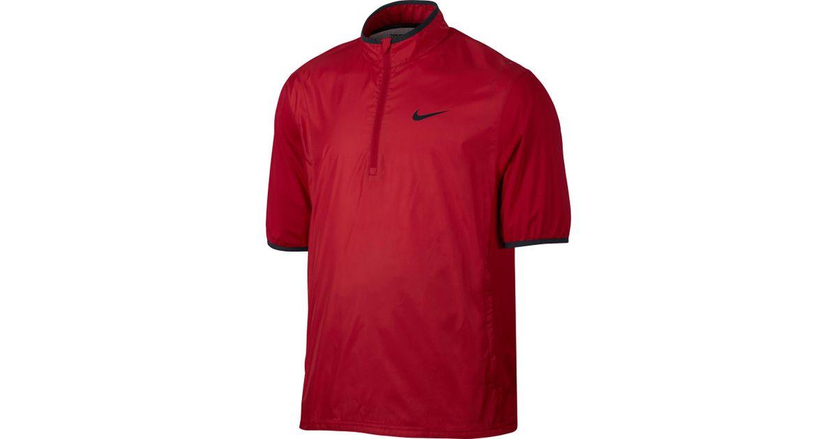 eb6508601723 Lyst - Nike Shield Half-zip Short Sleeve Golf Jacket in Red for Men