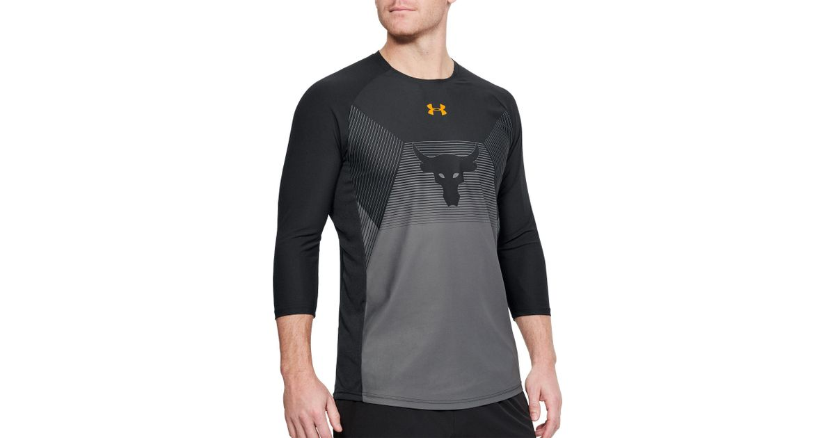 8d2959856e27b8 Lyst - Under Armour Project Rock Vanish 3⁄4 Length Sleeve Shirt in Black  for Men
