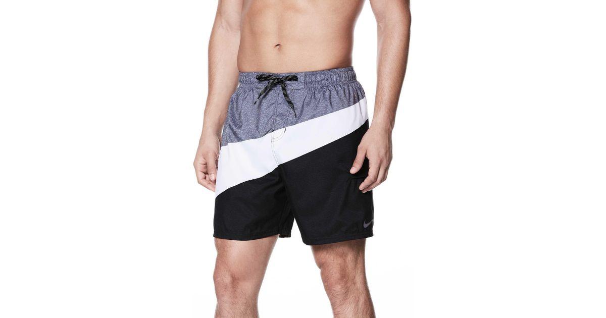 a232daec07 Nike Macro Swoosh Breaker Swim Trunks in Black for Men - Lyst