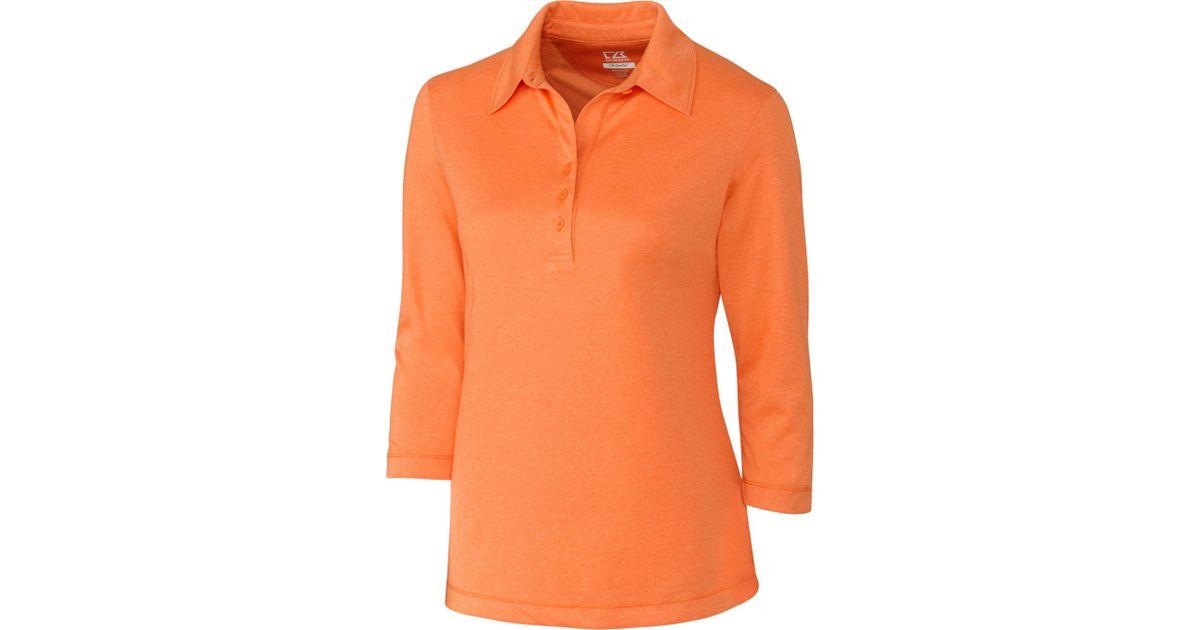 3da4dac3e Lyst - Cutter & Buck Drytec Three-quarter Sleeve Chelan Golf Polo in Orange