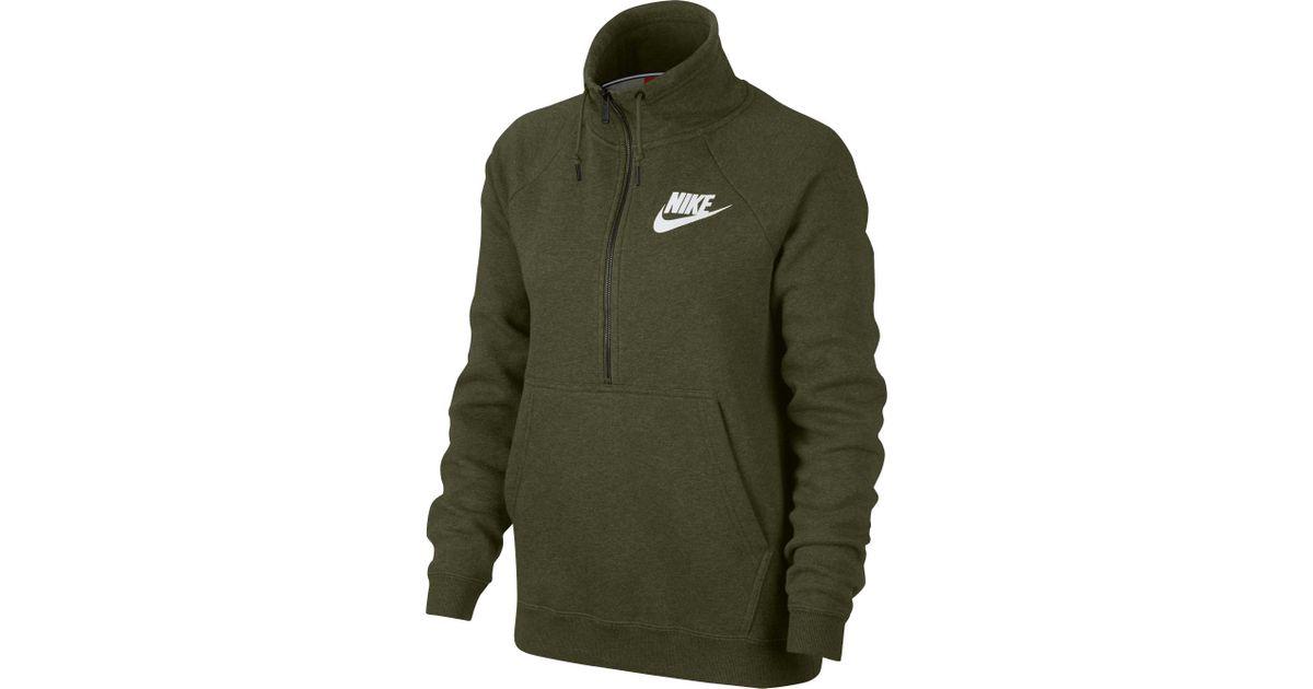 free shipping a5d81 ca02d Nike Sportswear Rally Half-zip Sweatshirt in Green - Lyst