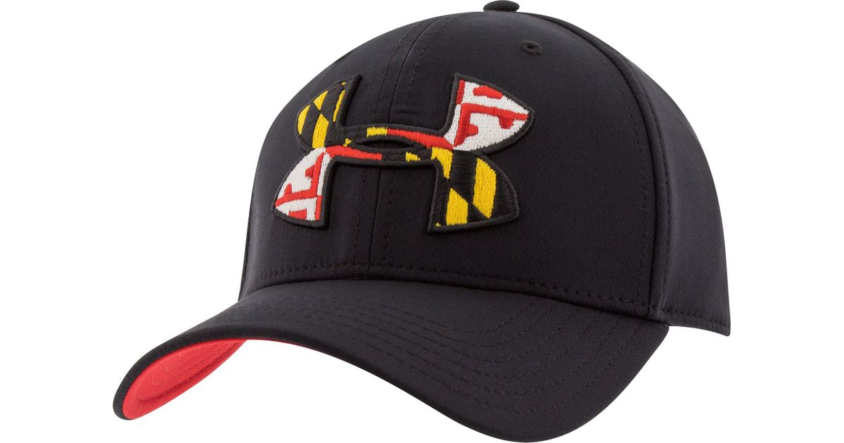 6221b4fbdffb8 closeout orioles maryland flag 59fifty fitted 5a397 bb446  50% off lyst  under armour maryland flag big logo low crown hat in black for