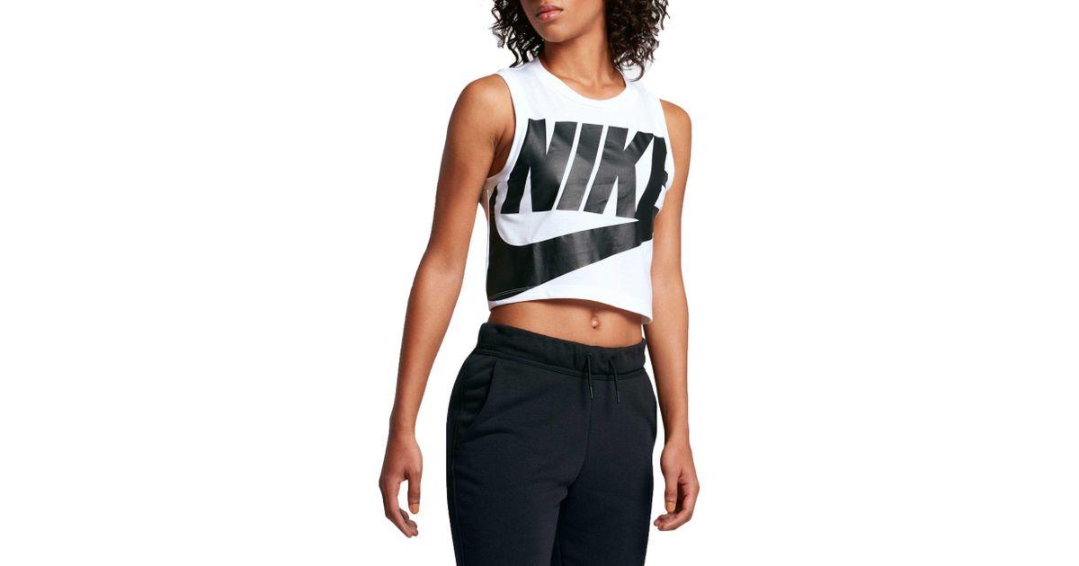b3802426ff6acf Lyst - Nike Sportswear Essential Cropped Tank Top in White