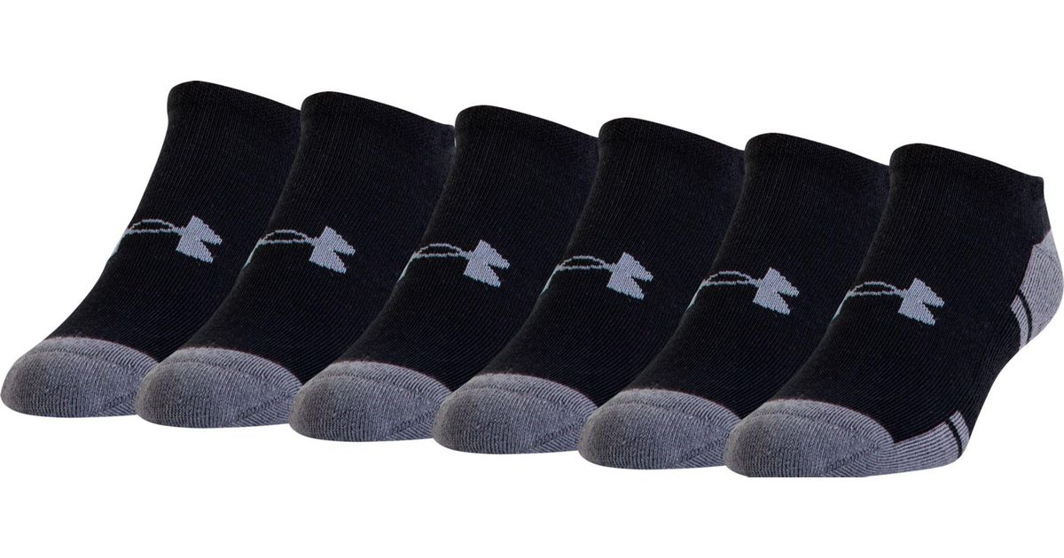 42577c15d Under Armour Resistor No Show Athletic Sock 6 Pack in Black for Men - Lyst