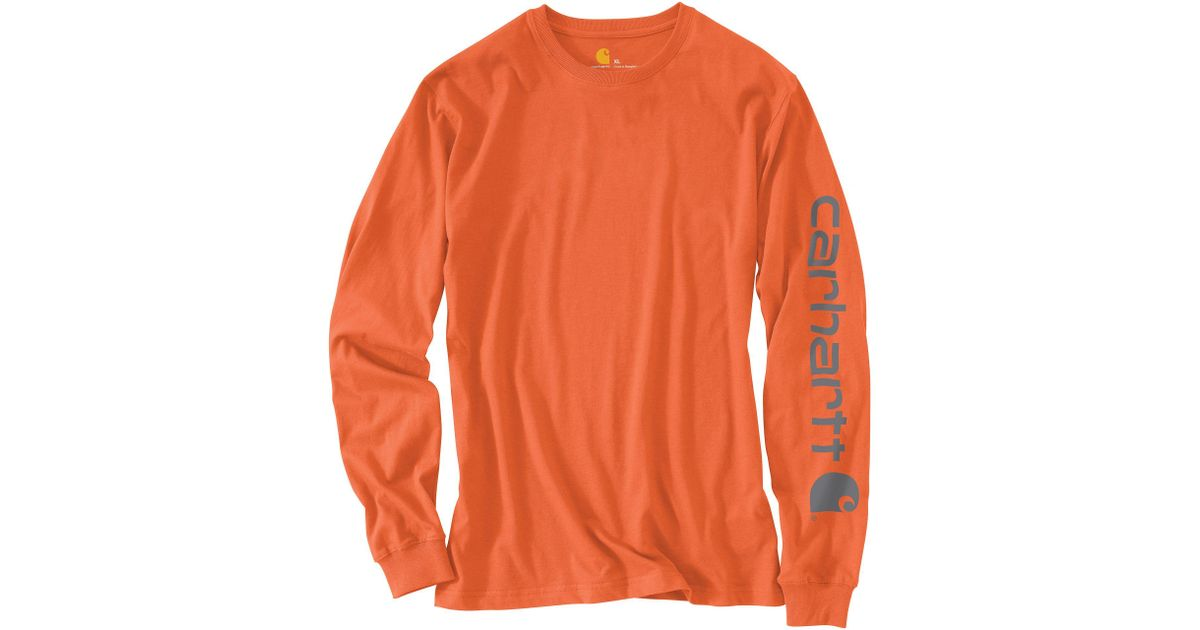90a5e8315 Carhartt Graphic Logo Long Sleeve Shirt in Orange for Men - Lyst