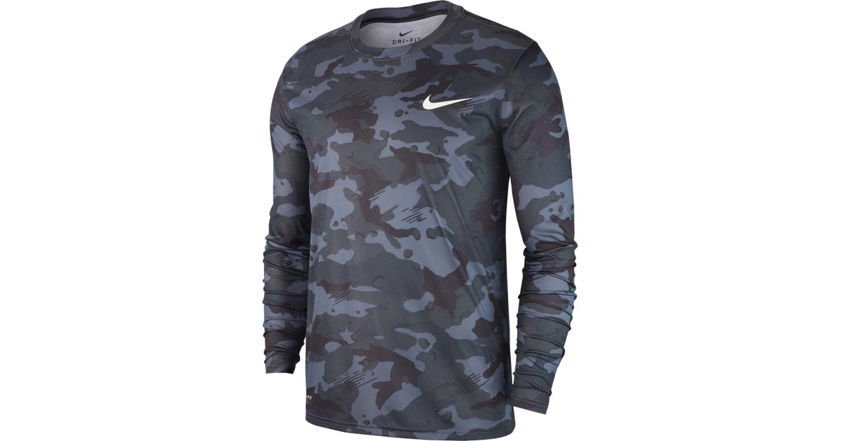 16cae7c8dfb27d Nike Dry Legend Camo Long Sleeve Tee in Gray for Men - Lyst