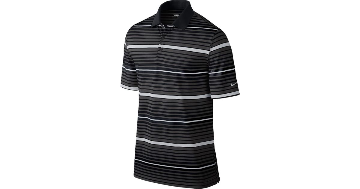 813231e8 Lyst - Nike Key Bold Heather Stripe Golf Polo in Black for Men