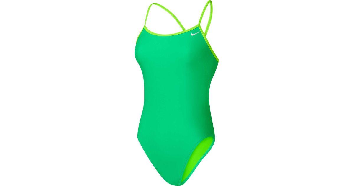 f034a90012e Nike Core Solid Cross Back Swimsuit in Green - Lyst