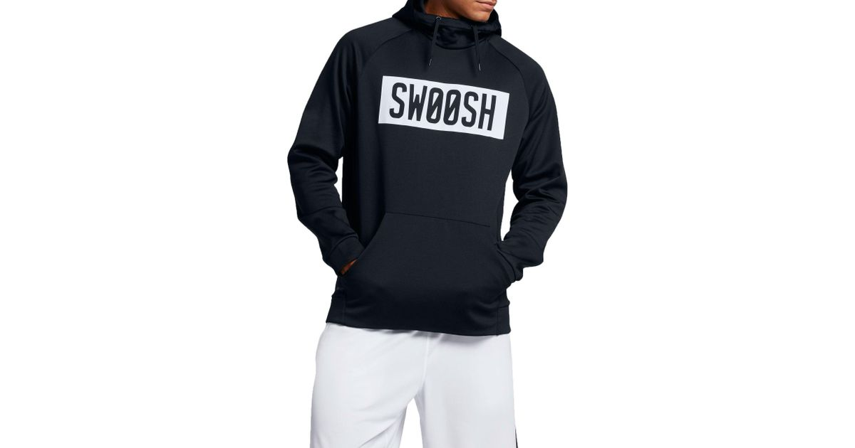 Lyst nike therma bar swoosh hoodie in black for men for White nike swoosh shirt