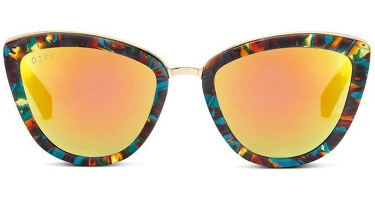 90af8bfdc6 Lyst - DIFF Rose - Motley Frame- Gold Mirror Polarized Lens