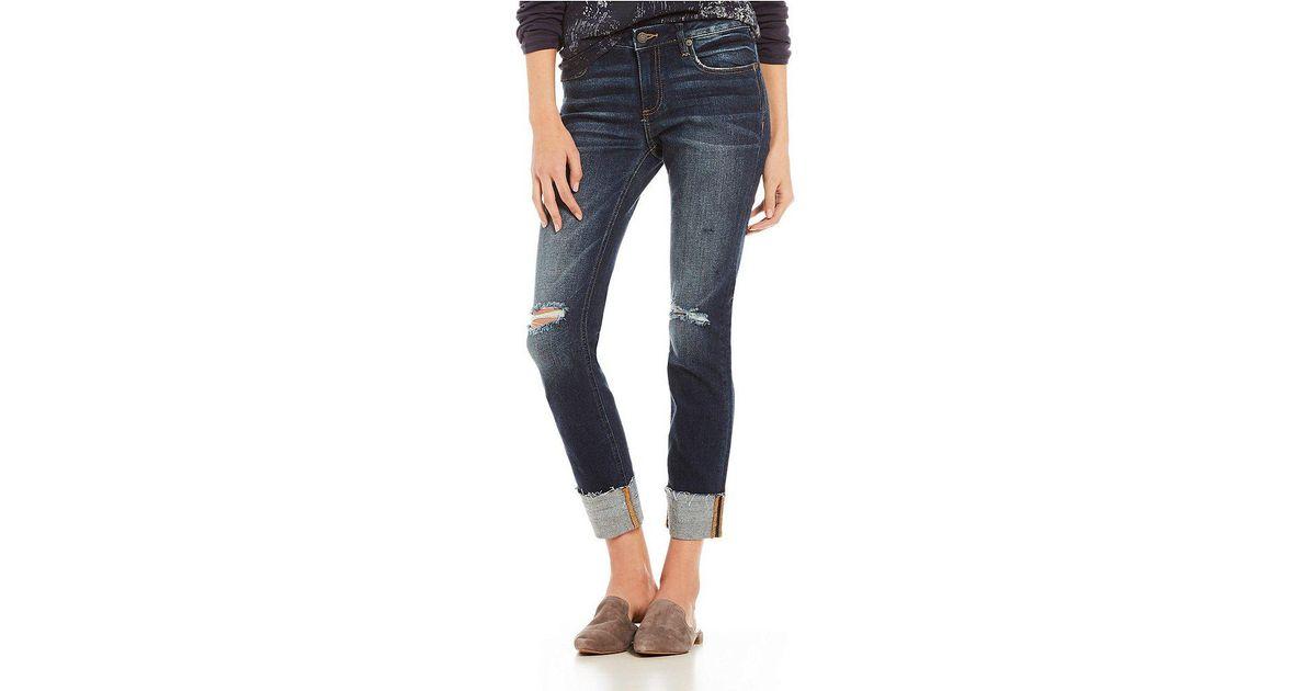 2dbd31b3c25 Lyst - Miss Me Destructed Cuffed Raw Hem Straight Leg Ankle Jeans in Blue