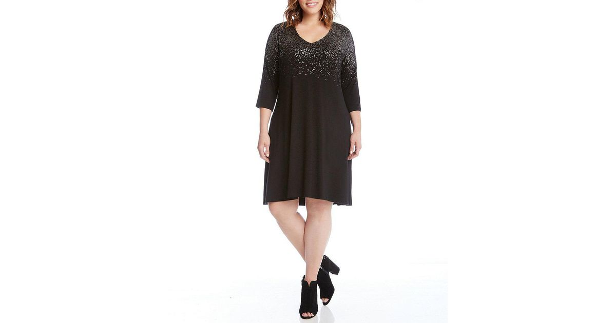 f0e24338014 Lyst - Karen Kane Plus Metallic Speckle Print Dress in Black