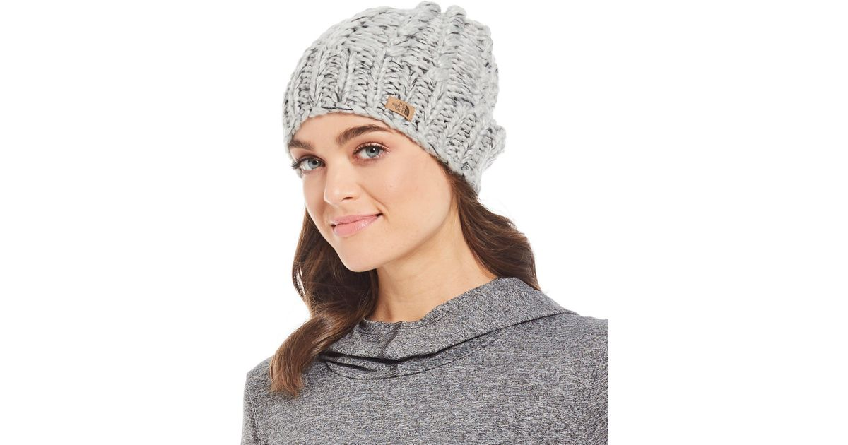 49c4a2d65dd The North Face Ladies  Chunky Knit Beanie in Gray - Lyst
